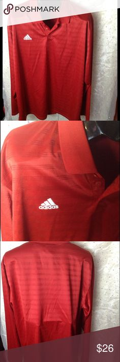 🚹 MENS XL Adidas ClimaLite Golf Shirt This is a great shirt for work or play!  Climalite technology keeps your body temperature regulated.  Long sleeves.  Excellent condition! Adidas Shirts Polos
