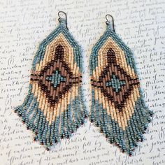 Native American Beaded Earrings Seed Bead Earrings Beaded