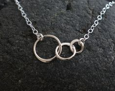 Tiny Three Linked Circles Pendant Necklace in by Popsicledrum