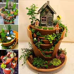 Broken Pot Fairy Gardens