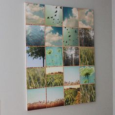 // wall art DIY Urban Outfitters wall art - canvas, nature pics, mod podge, and stained glass foiling tape. Collage Nature, Collage Foto, Collage Mural, Art Collages, Collage Collage, Wall Mural, Diy Wand, Diy Wall Art, Wall Decor