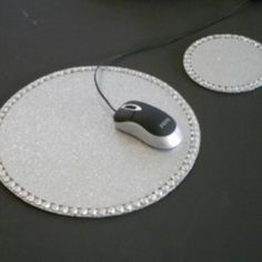 Silver Glitter Mousepad/Coaster Set at the Shopping Mall, $13.00 (USD)
