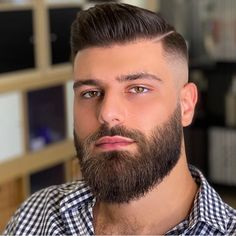 Mens Hairstyles With Beard, Cool Mens Haircuts, Moustache, Shaved Head With Beard, Mid Fade Haircut, Beard Cuts, Man Beard, Beard Haircut, Best Beard Styles