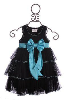Ooh La La Girls Bow Dress Black and Sky Blue $58.50