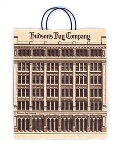 An Old Hudson's Bay Shopping Bag Celebrating the Iconic Architecture of the Hudson's Bay Buildings.