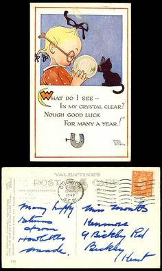 Mabel Lucie Attwell 1949OLD Postcard Crystal Ball Black CAT Kitten Good Luck 819 | eBay