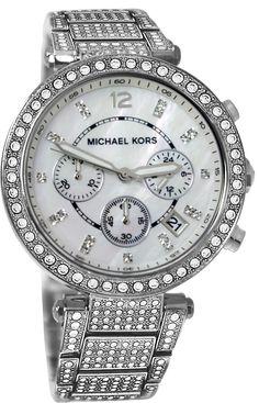 Michael Kors Women's 'Parker' Silver Super Glitz Watch - MK5572 : Disclosure: Affiliate link *$289.94 - 294.94