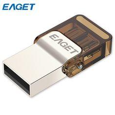 EAGET Micro USB OTG USB Flash Drive 16GB 8GB Pen Drive 32G Pendrive Metal Mini Memory Stick External Storage for Xiaomi Phone PC