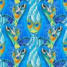 Peacock Illusion Asia Bird Feather Eye Quilt Fabric Cotton Fabric F86