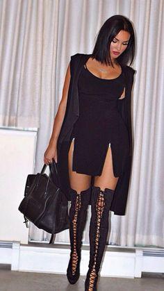 pinterest: @ biancaemb Fashion Killa, Look Fashion, Autumn Fashion, Womens Fashion, Natalie Halcro, Botas Sexy, Dress Up, Bodycon Dress, Dress Boots