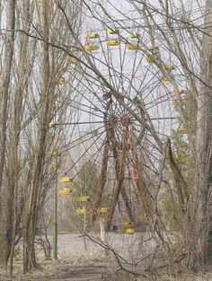 Rusting amusement rides are seen in the abandoned city of Prypiat, near the Chernobyl nuclear power plant,