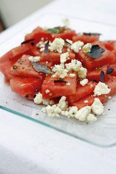 Watermelon, gorgonzola and purple basil salad