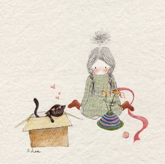 Kitty likes the box best. Cute Disney Drawings, Cute Drawings, Belle And Boo, Korean Artist, Book Girl, Cute Illustration, Watercolor And Ink, Animals For Kids, Cute Cartoon