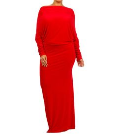 This is what I will wear. Look at this #zulilyfind! Red Off-Shoulder Maxi Dress - Plus #zulilyfinds