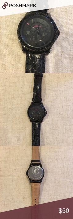 Juicy Couture Genuine Leather Watch Gently used. Band has reptile patter. Black rhinestones on dial. Requires new watch battery Juicy Couture Accessories Watches