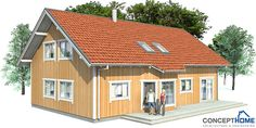 Small house plan with four bedrooms,  affordable building budget, two floors. Suits well to small lot.