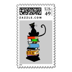 Library Cat Postage Stamps