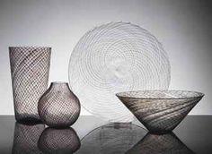Venini:  Reticelli; 2 vases, a bowl and a plate; 1976.