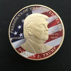 2 pcs Donald Trump The president of USA real gold plated 40 mm x 3 mm souvenir coin Silver Bullion, Challenge Coins, Coin Collecting, Gold Coins, Loose Gemstones, Donald Trump, Wish, Presidents, The Unit