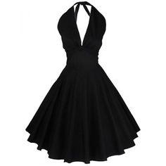 Vintage Halter Solid Color Backless Flare Dress For Women (BLACK,XL) in Vintage Dresses | DressLily.com