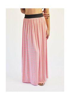 Μακριά φούστα ριγέ κοραλί 24,00€ #longskirt #women #fashion
