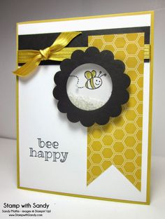 It's a wonderful day to bee happy! This is one of the cards we made in stamp class on Monday night. My class was learning different things that can be done with Window Sheets, and one of my favorites