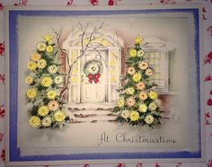 ~ Vtg. 1940s UNUSED Christmas Card Yellow Beaded Watercolored Christmas Trees ~
