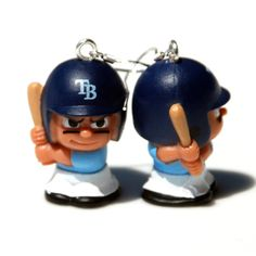 Tampa Bay Rays Baseball Earrings by BabyRoomPrints on Etsy, $20.00