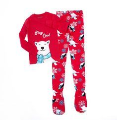 2 Piece Footed Pajamas Stay Cool Polar Bear. Footie Pajamas in 180 GSM 100% cotton. Long sleeve red pajama top with Stay Cool Polar Bear and Penguins and Snowmen on red footie PJ pants. Pajama feet have Bear Paw print non-slip bottoms. These fun pajamas have no fire retardant and are made to be snug fitting in 100% cotton jersey knit. Also available in blu 653-BLU