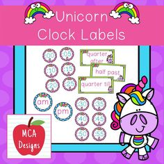 """These colorful clock labels are part of my Unicorn Classroom Decor collection. Each clock label is accented with bright colors and unicorn themed graphics :) This set includes: Clock labels in 5 minute increments am and pm labels """"quarter till"""", """"quarter after"""", & """"half past"""" #teacherspayteachers #tpt #clock #classroommanagement #backtoschool School Resources, Classroom Resources, Teacher Resources, Clock Labels, As You Like, Give It To Me, 2nd Grade Activities, 2nd Grade Classroom, Task Cards"""