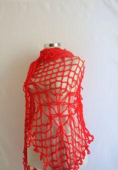 SHAWL Dream Red Triangle Shawl Fashion Gift by modelknitting, $49.00