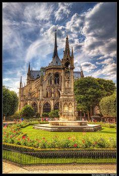 "Notre Dame from the ""park side"", Paris"