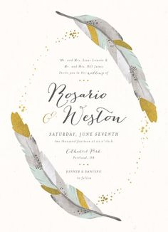 Dipped Feathers bohemian wedding invitation by Pistols