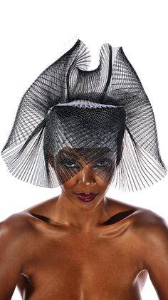 Volendam Mask Cocktail Hat in Black and White by JasminZorlu - 458$