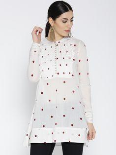 467ba78793 Buy ARAH White Printed Semi Sheer A Line Tunic - - Apparel for Women from  ARAH