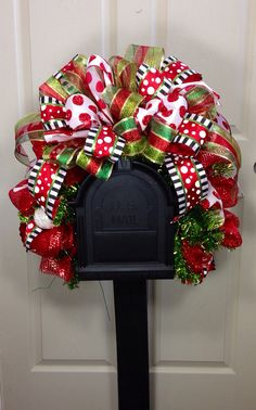 Christmas Mailbox Swag, MailBox, Decor, Red and Green Decoration Christmas, Christmas Swags, Christmas Door, Outdoor Christmas, Holiday Wreaths, Winter Christmas, All Things Christmas, Christmas Holidays, Christmas Ornaments