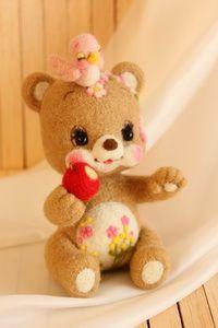 小鳥ちゃん、りんごたべる? | Needle felted teddy bears