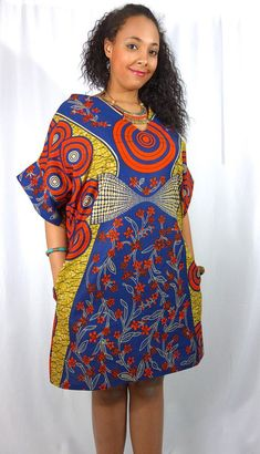African Clothing African Dress for Women African Print Dress Ankara Dress Ankara Print Dress, Loose Dresses, Wax Print, Fall Dress African Dresses For Women, African Attire, African Wear, African Fashion Dresses, African Outfits, Ankara Fashion, African Style, African Beauty, Trendy Ankara Styles