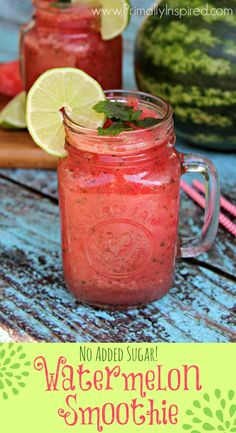 Watermelon Smoothie (No Added Sugar) via Primally Inspired