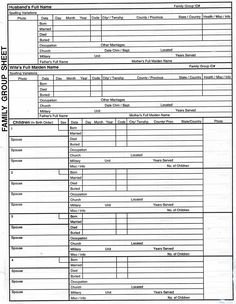 genealogy templates family group chart | Family Group Sheet 1                                                                                                                                                      More