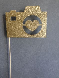 Gold Glitter Camera Photo Booth Prop - Wedding Photo Booth Props #CameraPhotoBoothProp #GoldGlitterCamera #GlitterPhotoBoothProp