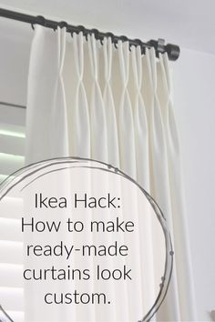 You don't have to spend a fortune on custom drapes…I'll show you how to make ready-made Ikea Ritva curtains look like expensive custom drapes. I think beautif… Ikea Curtains, Floor To Ceiling Curtains, Stenciled Curtains, Pleated Curtains, Drop Cloth Curtains, Window Drapes, Hanging Curtains, Window Coverings, Ikea Curtain Rods