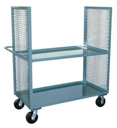 Jamco Products Inc 2 Sided Mesh Truck with 2 Shelves 24 x with 6 inch x 2 inch Phenolic Casters, Two Rigid, Two Swivel, Powder Coated Gray, Trucks Only, Mobile Storage, Cabinets For Sale, Trucks For Sale, Kitchen Cart, The Ordinary, 6 Inches, Mesh, Shelves
