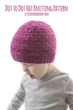 This simple but fun Dot to Dot hat knitting pattern is a perfect pattern to show off your favorite yarn, it makes a wonderful baby shower gift too! Kids Knitting Patterns, Baby Hat Knitting Pattern, Baby Hat Patterns, Baby Hats Knitting, Knitting For Kids, Free Knitting, Knitting Projects, Knitted Hats, Purl Stitch