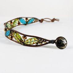 Boho, Green, Aqua and Gold, Secret Garden, Wrapped Leather Bracelet  | wiresNpliers - Jewelry on ArtFire