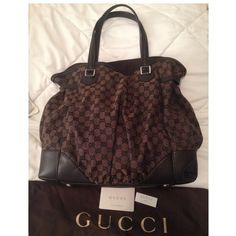 Gucci Authentic Purse Handbag Bag Makeoffer! This is an Like New Authentic Gucci Fullmoon extra large bag.color is Chocolate brown monogrammed with the Gucci logo as shown . Snap button closure. Inside bag has one wall lining pocket with zipper closure and two wall lining open pockets. Comes with dustbag, care card and controllato card. Dimensions of this lovely bag is 19w x 15L x 5d in Excellent condition. Only used 1-2 times. everything in my closet must go. Send me your best offers using…