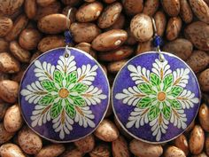 Purple Spring Blossom Goose Egg Pysanky Earrings by AnsleyLarsson, $38.00