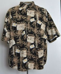 Puritan Shirt 3XL Mens Hawaiian Short Sleeve Black Animal 100% Cotton  #Puritan #Hawaiian free shipping auction starting at $12.99