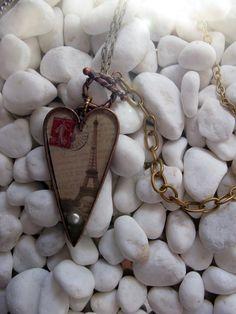 Paris Heart Nunn Design Pendant Necklace by MaggieMarieCreations, $24.00