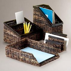 """■Paper tray, 10.25""""Wx14.5""""Dx3.5""""H  ■Mail sorter, 6.25""""Wx4.5""""Dx5.5""""H  ■Magazine organizer, 11""""Wx5.5""""Dx7.25""""H  ■Desktop organizer, 9.5""""Wx10.5""""Dx7""""H  ■Made in Philippines"""
